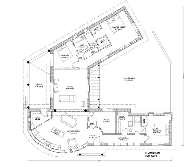 Straw bale house plan with courtyard alternative living for Strawbale house plans