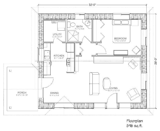 Bale retreat 900 straw bale plans Strawbale home plans