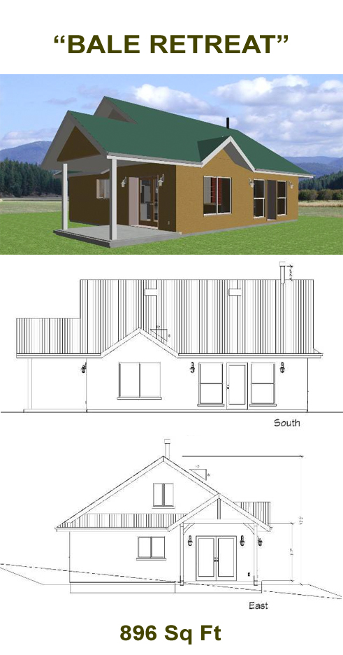 Bale retreat 900 straw bale plans for Strawbale house plans