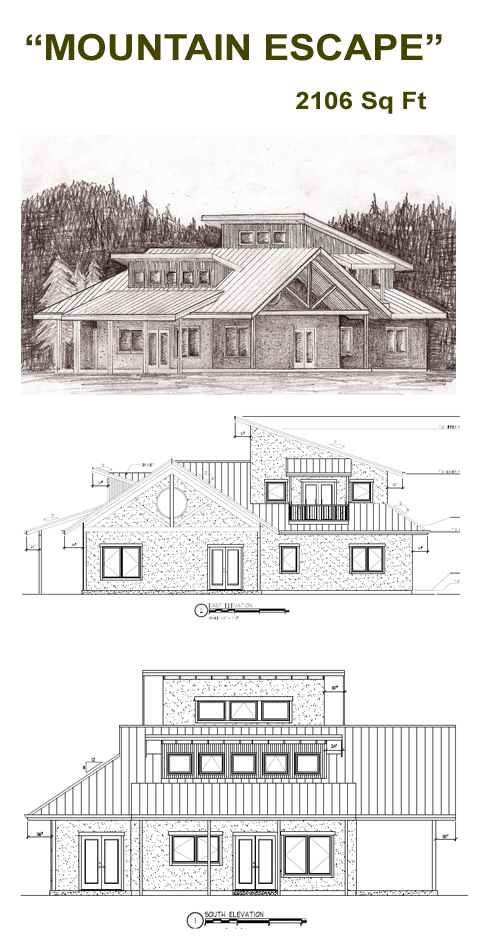 Mountain escape straw bale plans for Strawbale house plans