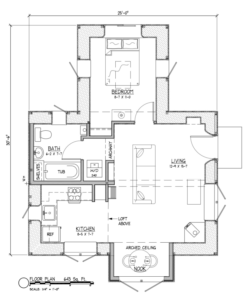 Applegate straw bale cottage plans for Straw bale house cost per square foot
