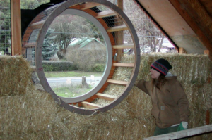 straw bale round window